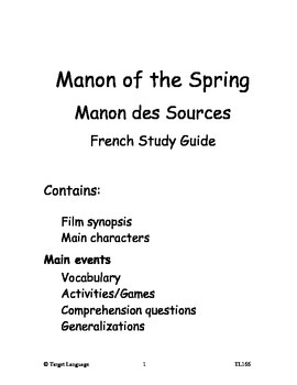 Manon of the Spring-French Study Guide