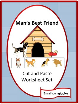 Dogs Cut and Paste NO PREP Math & Literacy Printables for