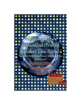 Manuscript Alphabet Line Posters Blue Gem~Bl/Yel/Gr Dotted