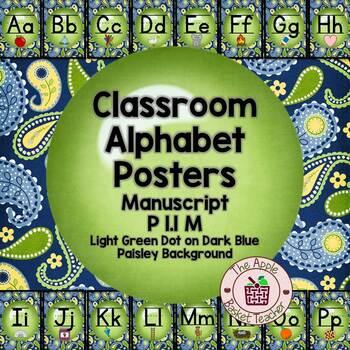 Manuscript Alphabet Line Posters Green Dot~Blue/Yellow/Gre