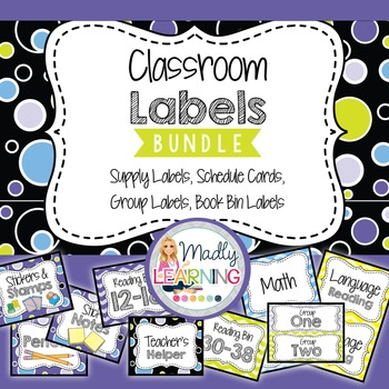 Classroom Label Bundle: Schedule, Classroom, and Supply Labels