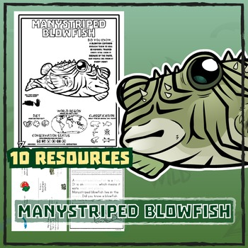 Manystriped Blowfish -- 10 Resources -- Coloring Pages, Re