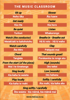Maori terms for the Music Classroom
