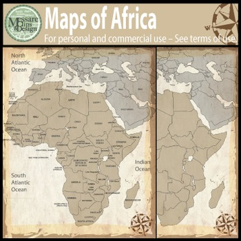 Map Clip Art: The Africa Map Set {Messare Clips and Design}