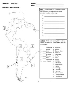Map Quiz of Spanish Speaking Countries--South America