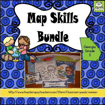 Map Skills Bundle Georgia Grade 3 (Task Cards Included)