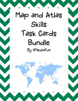 Map and Atlas Skills Task Card Bundle by KMediaFun