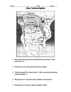 Map of Bantu Migrations in Africa