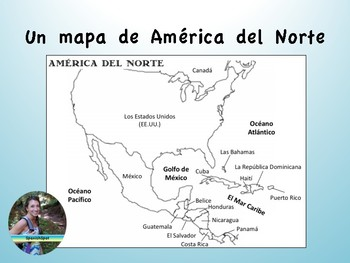 Map of North America in Spanish