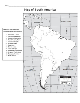 Map of South American Capitals and Countries
