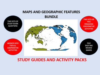 Maps and Geographic Features Bundle: Study Guide/Activity Packs