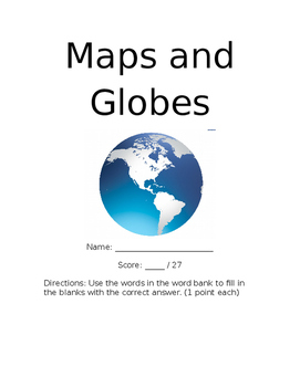 Maps and Globes Assessment