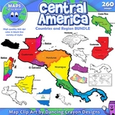Maps of Central America: Clip Art Map BUNDLE