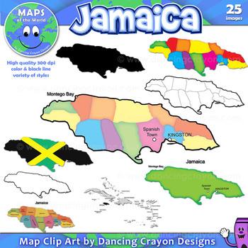 Maps of Jamaica: Clip Art Map Set