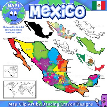 Maps of Mexico: Clip Art Map Set