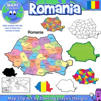 Maps of Romania: Clip Art Map Set