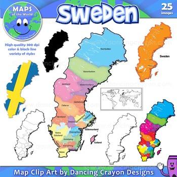 Maps of Sweden: Clip Art Map Set