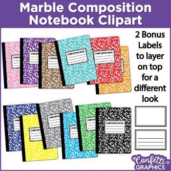 Marble Composition Notebook Rainbow Colors 14 Piece Set Cl