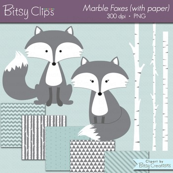 Marble Fox Clipart with Digital Scrapbook Paper INSTANT DO
