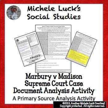 Marbury v Madison Supreme Court Case Document Analysis Activity