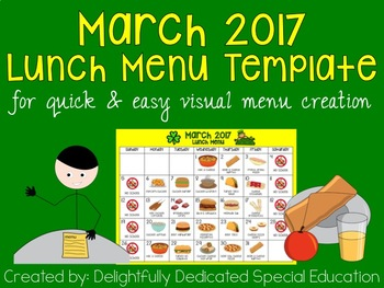 March 2017 Lunch Menu Template for Special Education or Ea