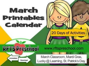 March Printables Calendar + (BONUS) Teacher Classroom Files