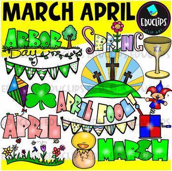 March April Clip Art Bundle
