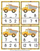 Construction Trucks Numbers In Between Clip Cards
