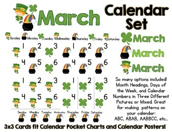 March Calendar Set:  March Headers, Days of the Week, and