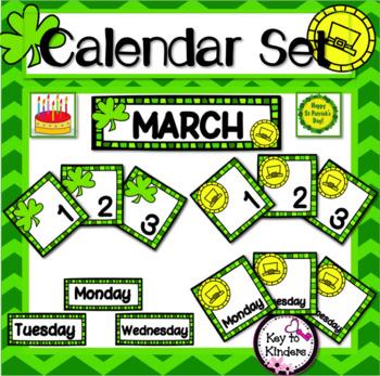 March Calendar Set - St. Patrick's Day