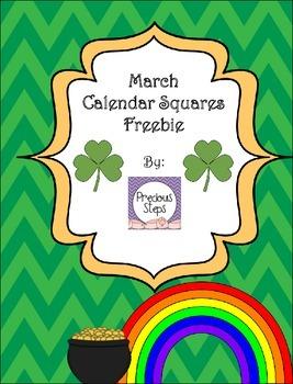 March Calendar Squares Freebie {Precious Steps Preschool}