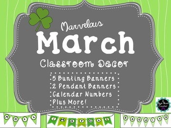 March Classroom Signs for Bulletin Boards {Bunting, Pendan