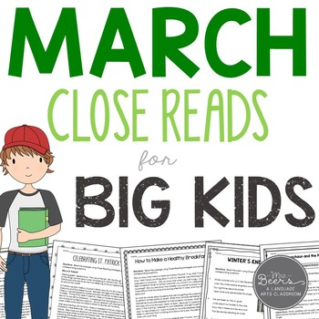 March Close Reads for Grades 4-6 Common Core Aligned
