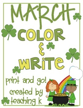 March Color & Write (Writing Activity Journal for K-2) for