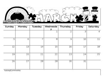 March Editable Calendar
