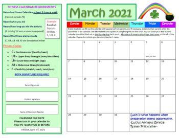 March Fitness Calendar 2017