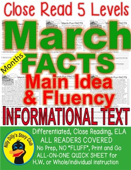 March Fun FACTS Close Read 5 Levels Differentiated Fluency