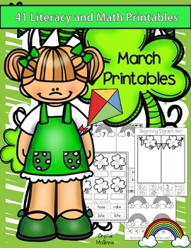 March Kindergarten Math & Literacy Pack (St. Patrick's Day