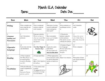 March Language Arts Calendar