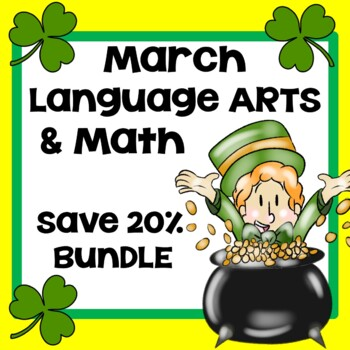 March Language Arts Math & St. Patrick's Day Interactive A
