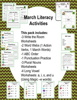 March Literacy Activities First Grade
