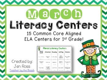 March Literacy Centers Menu {Common Core Aligned} Grade 1