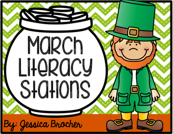 March Literacy Stations {10 Stations in Color and Black & White}