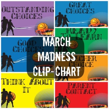 March Madness Basketball Themed Clip Chart