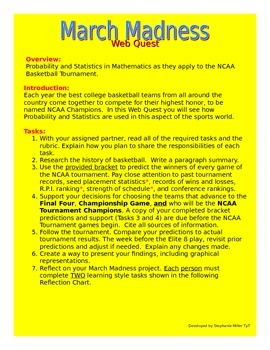 March Madness NCAA Web Quest