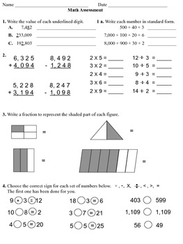 March Math Assessment