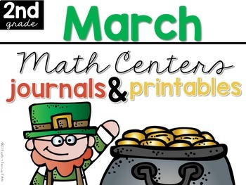 March Math Centers, Journals, and Printables Second Grade