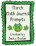 March Math Journal Prompts- Kindergarten Common Core