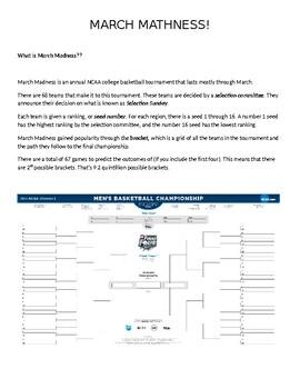 "2016 March ""Mathness"" Madness NCAA Basketball Probability"
