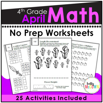April NO PREP Math Packet - 4th Grade